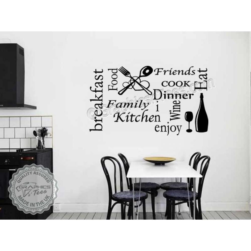 Kitchen Wall Sticker Quote Wall Art Collage Kitchen Word