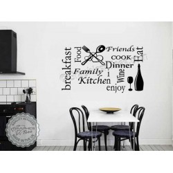 Kitchen Wall Sticker Quote Wall Art Collage, Kitchen Word Montage Decor Decal