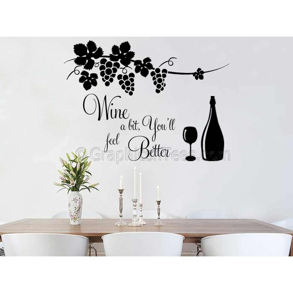 Wine a bit kitchen dining room wall quote sticker vinyl for Kitchen and dining wall art