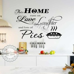 Funny Kitchen Wall Stickers This Home Runs On Love Laughter & Pies Fun Family Wall Sticker Quote Home Decor Decal