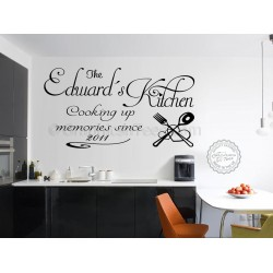 Personalised Family Wall Sticker, Cooking Up Memories Kitchen Wall Quote Decal