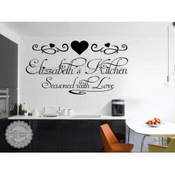 Personalised Kitchen Wall Quote, Seasoned With Love, Family Wall Sticker
