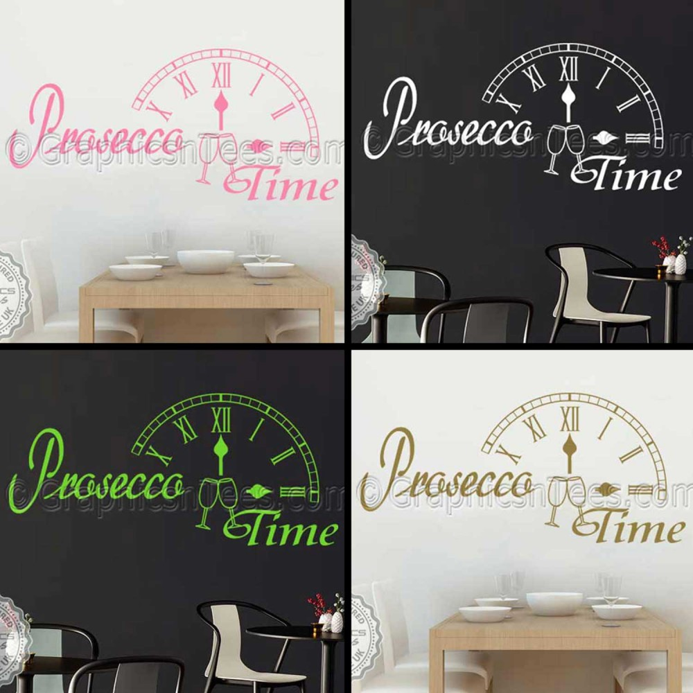 Prosecco time kitchen dining room wall sticker fun quote for Wall art decals dining room