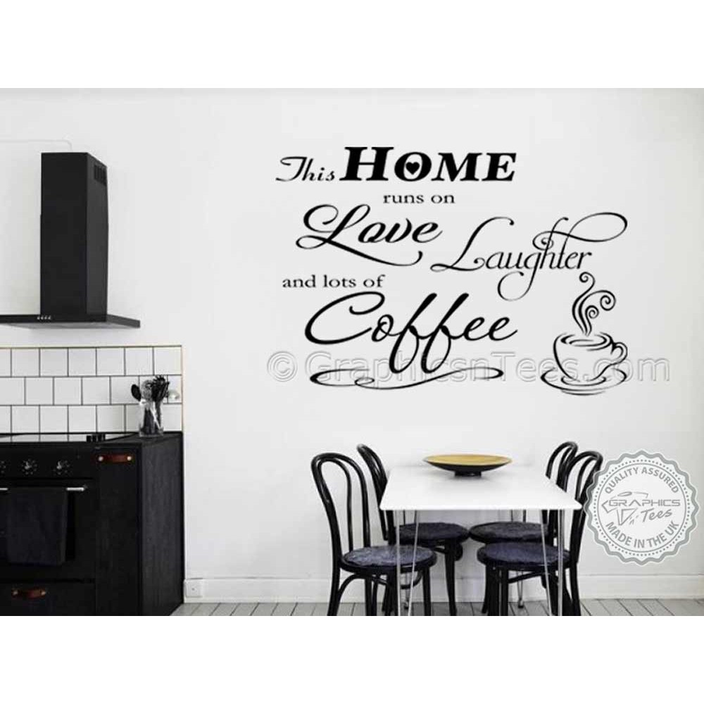 wall decals for dining room this home runs on laughter and coffee kitchen wall 5613