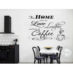 This Home Runs On Love Laughter and Coffee, Kitchen Wall Sticker, Funny Kitchen Dining Room Wall Quote
