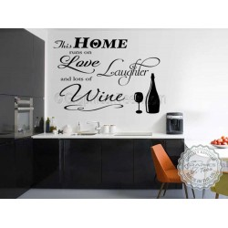 This Home Runs On Love Laughter and Wine, Kitchen Wall Sticker, Funny Kitchen Dining Room Wall Quote