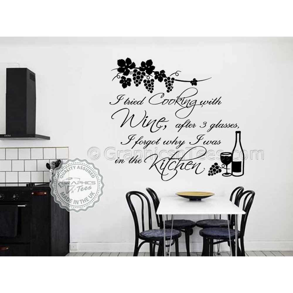 Cook With Wine, Kitchen Wall Sticker, Tried Cooking With