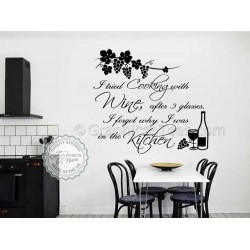 Cook With Wine, Kitchen Wall Sticker, Tried Cooking with Wine, Funny Kitchen Cooking Quote