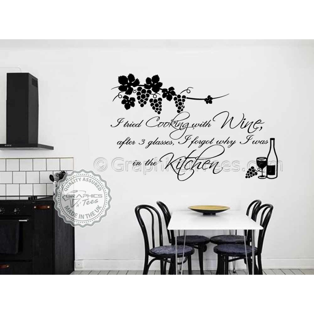 Kitchen Wall Sticker Quote Tried Cooking With Wine Cook With Wine