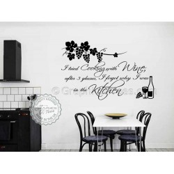 Kitchen Wall Sticker Quote, Tried Cooking with Wine, Cook With Wine, Kitchen Wall Sticker, Funny Kitchen Cooking Quote