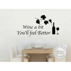 Wine a Bit, Kitchen Dining Room Wall Art Mural Sticker Decals Quote