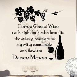 Funny Kitchen Dining Room Wall Sticker I Drink Wine Quote Fun Home Vinyl Decor Decal - 02