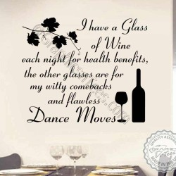 Funny Kitchen Dining Room Wall Sticker I Drink Wine For Health Benefits Quote Home Wall Art Decor Decal - 01
