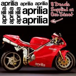 Ducati Aprilia Decals, Full Sheet Of 8 Sticker Graphics