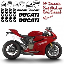 Ducati Decals, Full Sheet Of 14 Sticker Graphics