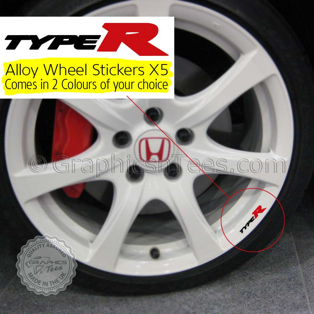 Honda Type R Alloy Wheel Decal Stickers 2 Colour Option