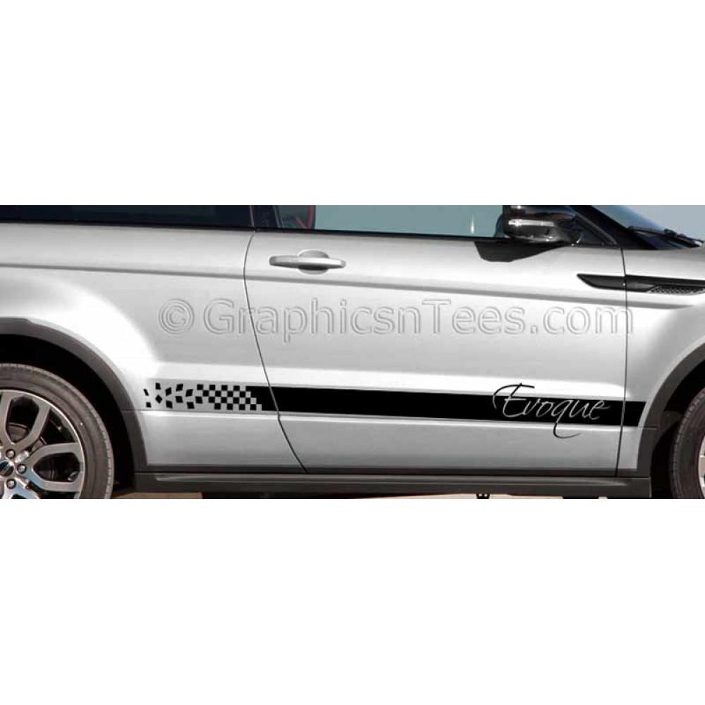 range rover evoque custom side stripe vinyl graphic decals stickers drift. Black Bedroom Furniture Sets. Home Design Ideas