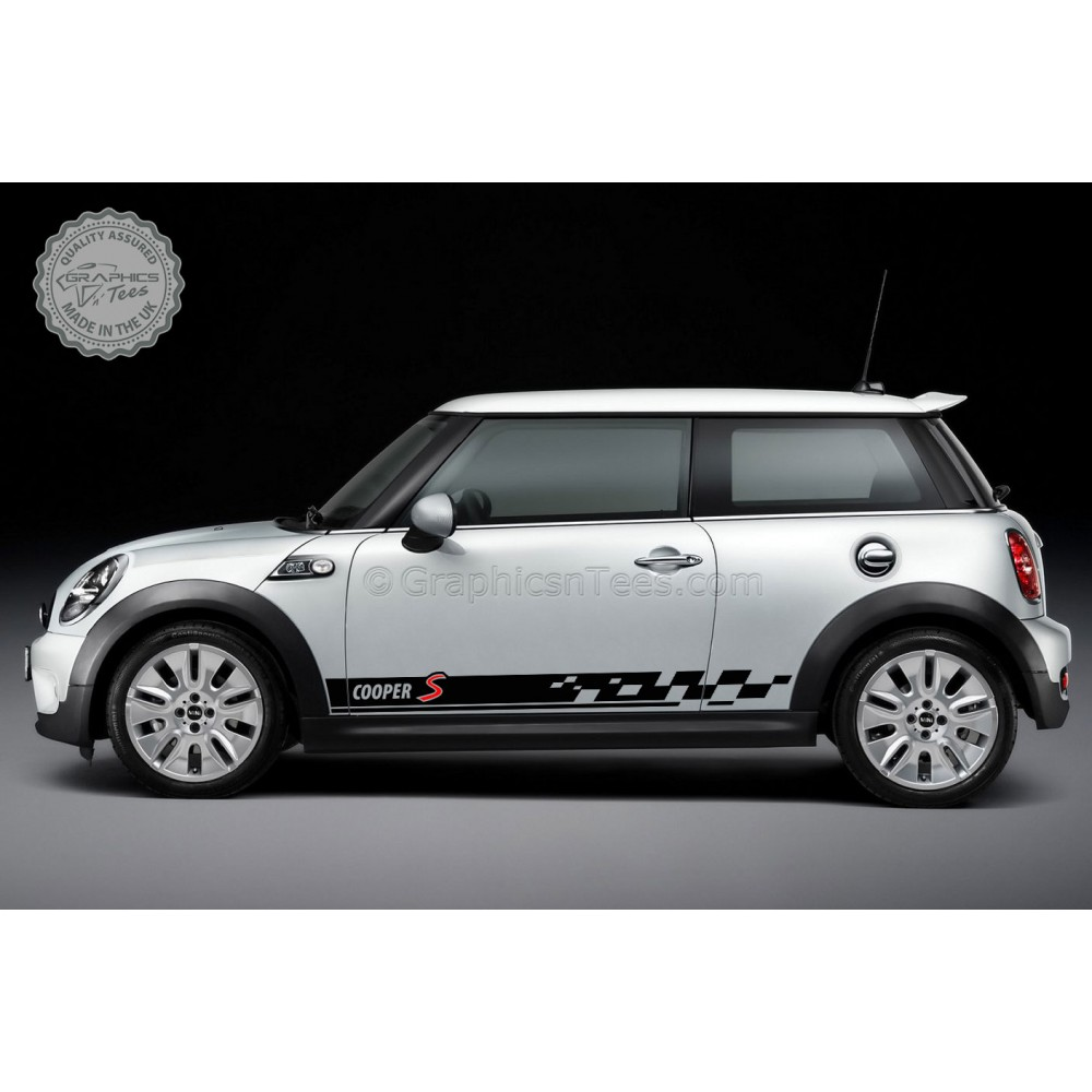 BMW Mini Cooper S Car Stickers, Different S Colour Side Stripe Chequered Car  Vinyl Decals