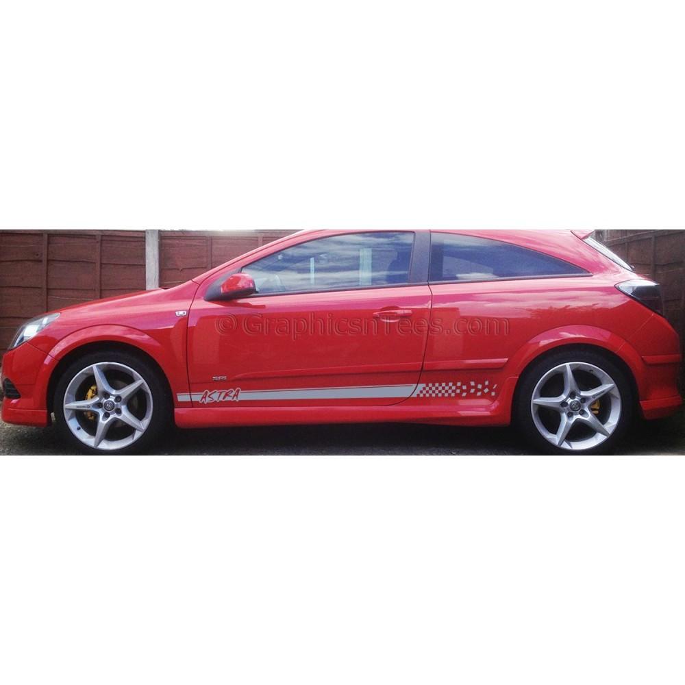 Vauxhall Astra H Mk5 SXI, SRI, VXR Side Stripe Decals