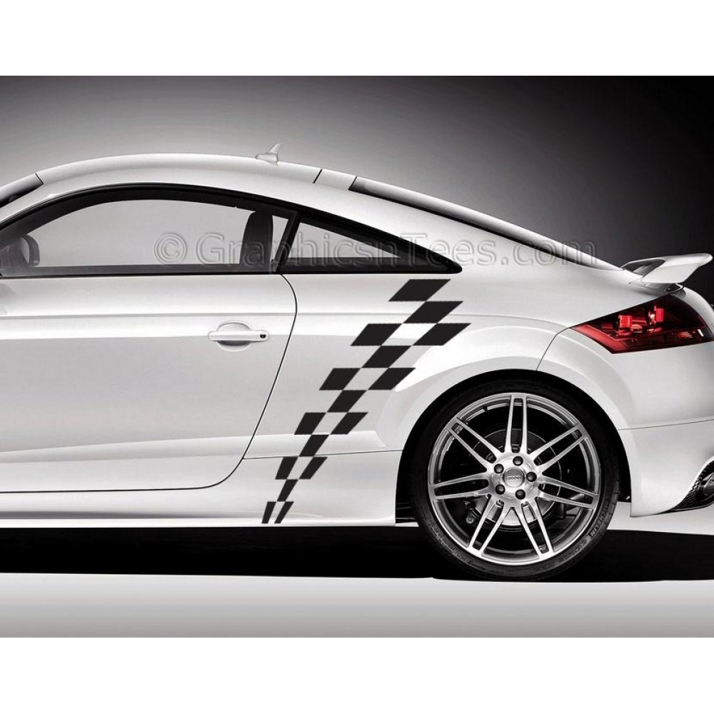 Audi TT Car Sticker, Check Checker Chequered Flag, Custom Side Stripe, Vinyl  Decals