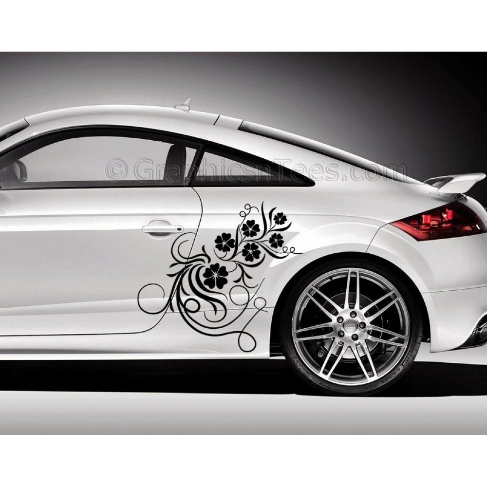 Audi TT Car Sticker Side Decal Flower Car Sticker Girly Car - Car side decals designpopular sport car graphicsbuy cheap sport car graphics lots from