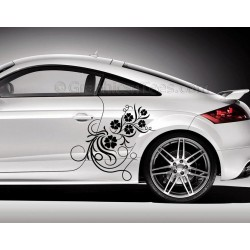 Audi TT Car Sticker, Side Decal, Flower Car Sticker, Girly Car Stickers