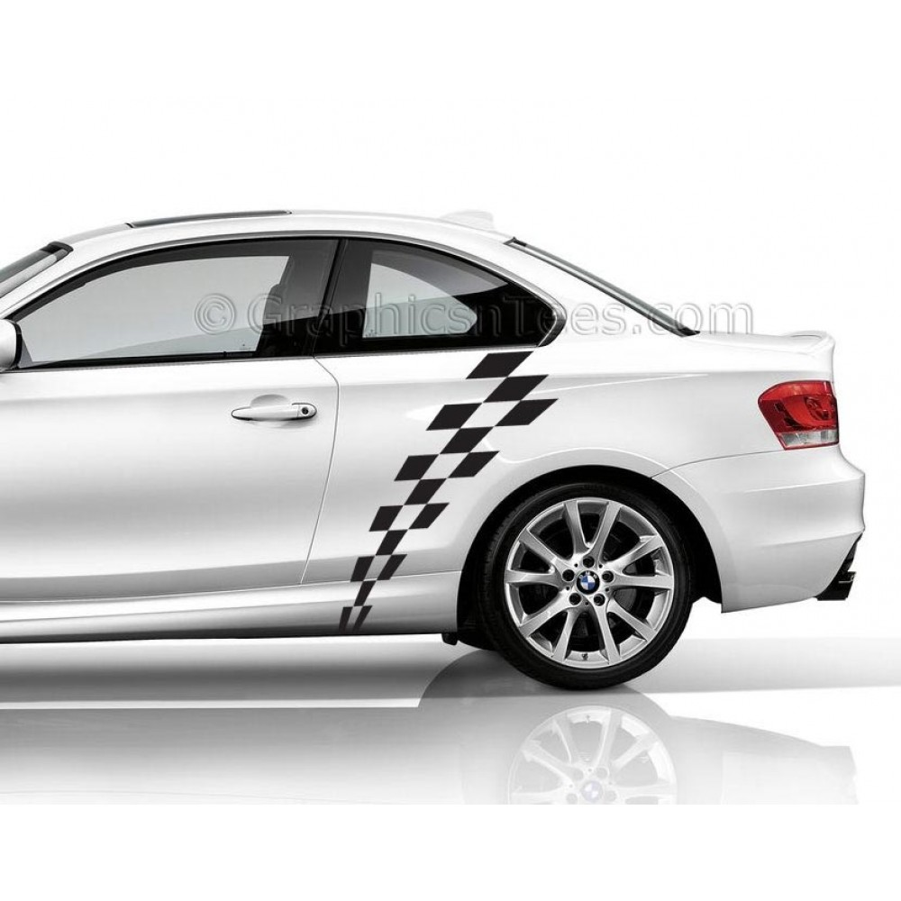 Bmwcarimage: BMW 1 Series Car Sticker, Check Checker Chequered Flag