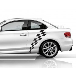 BMW 1 Series Car Sticker, Check Checker Chequered Flag, Custom Vinyl Graphic Decals