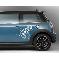 BMW Mini Car Sticker, Side Decal, Flower Car Sticker, Girly Car Stickers
