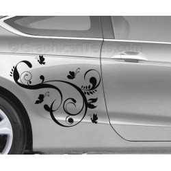 Flowers and Butterflies Car Stickers, Custom Graphic Decal - Girly Car Stickers - Butterfly Stickers
