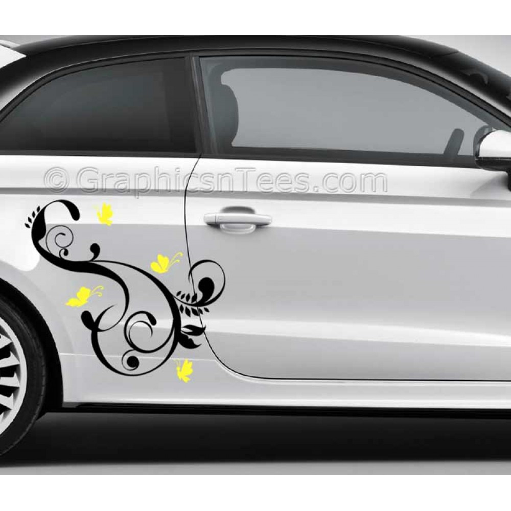 Butterflies car stickers custom graphic decal girly car stickers butterfly flowers stickers 2 colours