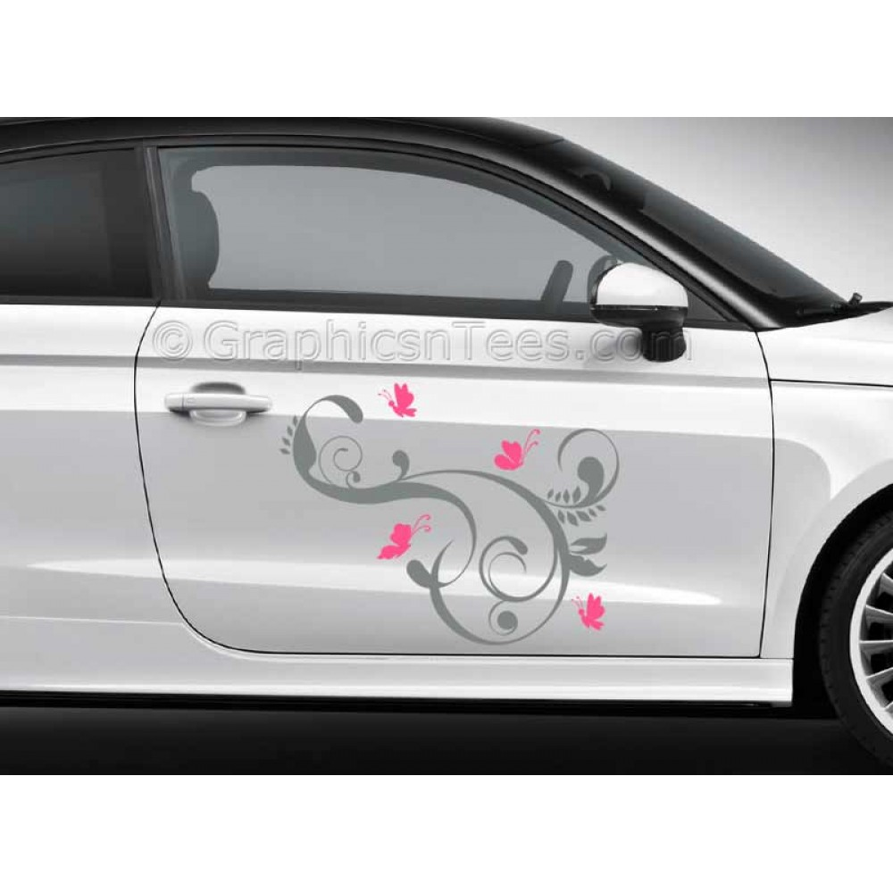 butterflies car stickers custom graphic decal girly car stickers butterfly flowers stickers. Black Bedroom Furniture Sets. Home Design Ideas
