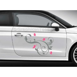 Butterflies Car Stickers, Custom Graphic Decal - Girly Car Stickers - Butterfly Flowers Stickers - 2 Colours