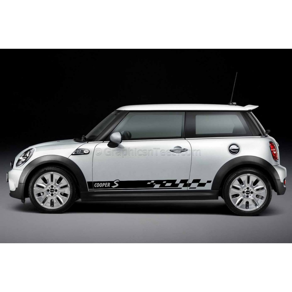 Bmw Mini Cooper S Car Stickers Custom Side Stripe Chequered Car Vinyl Decals