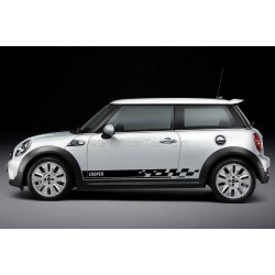BMW Mini Cooper Car Stickers, Custom Side Stripe Chequered Car Vinyl Decals