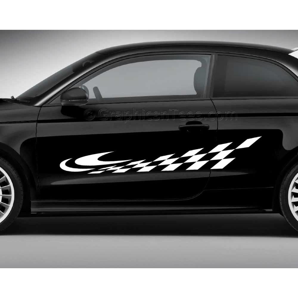 Checker Flag Car Stickers Custom Vinyl Side Stripe Graphic Decals - Car custom vinyl stickers design