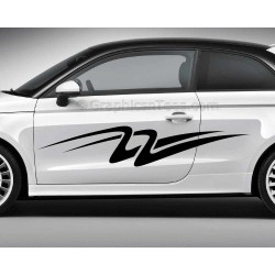 Custom Car Stickers, Vinyl Graphic Side Stripe Decals - Swooshes