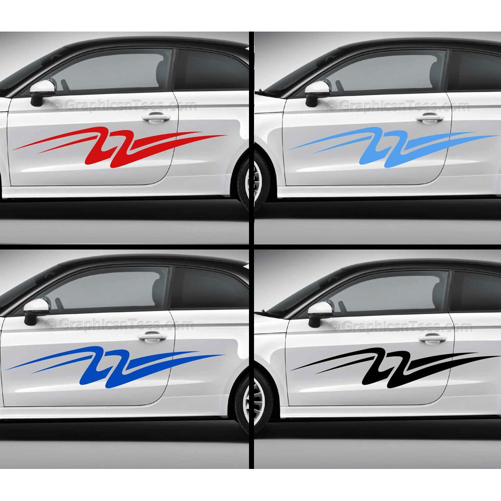 Custom Car Stickers Vinyl Graphic Side Stripe Decals Swooshes - Vinyl graphics for cars