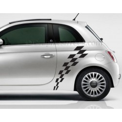 Fiat 500 Check Checker Flag Custom Side Graphic Decal