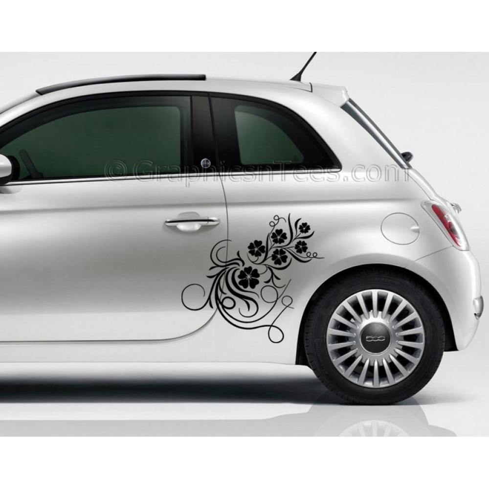 Fiat 500 flower vine car sticker custom vinyl graphic decal