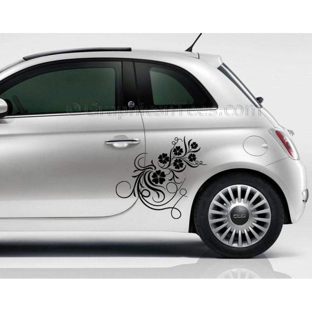 Fiat Flower Vine Car Sticker Custom Vinyl Graphic Decal - Vinyl graphics for a car