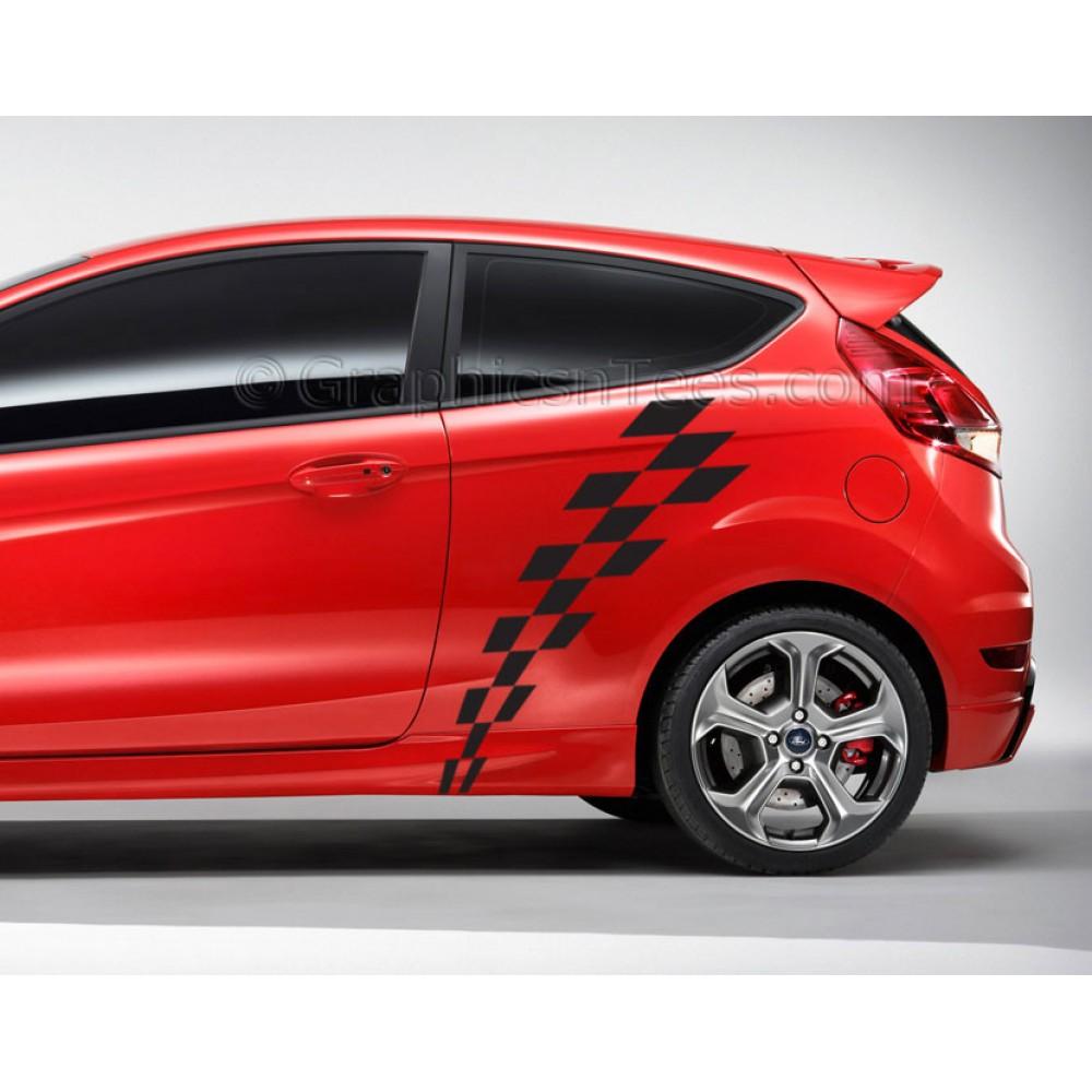 Fiesta mk7 car vinyl decals sticker graphic chequered flags 1000x1000 jpg