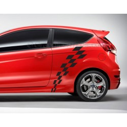 MK7 Ford Fiesta Check Checker Flag Custom Side Graphic Decal