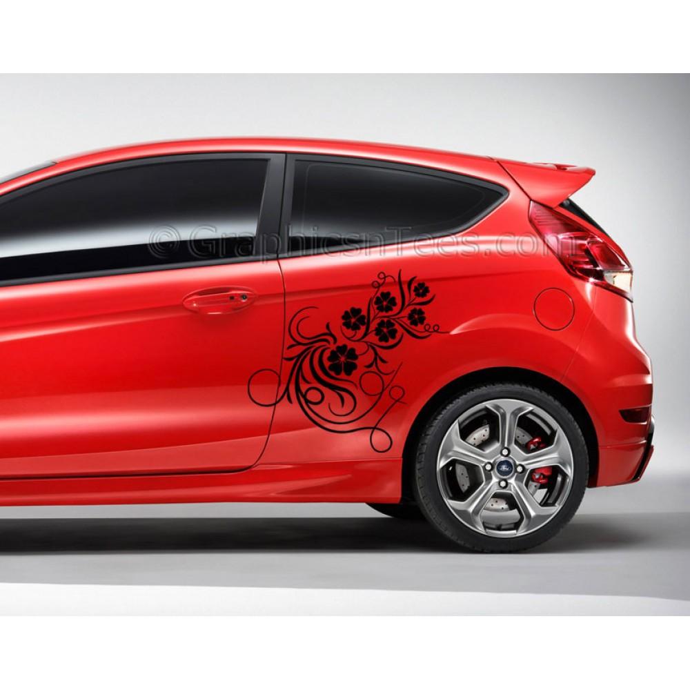mk7 ford fiesta car flower vine custom vinyl graphic girl decals. Black Bedroom Furniture Sets. Home Design Ideas