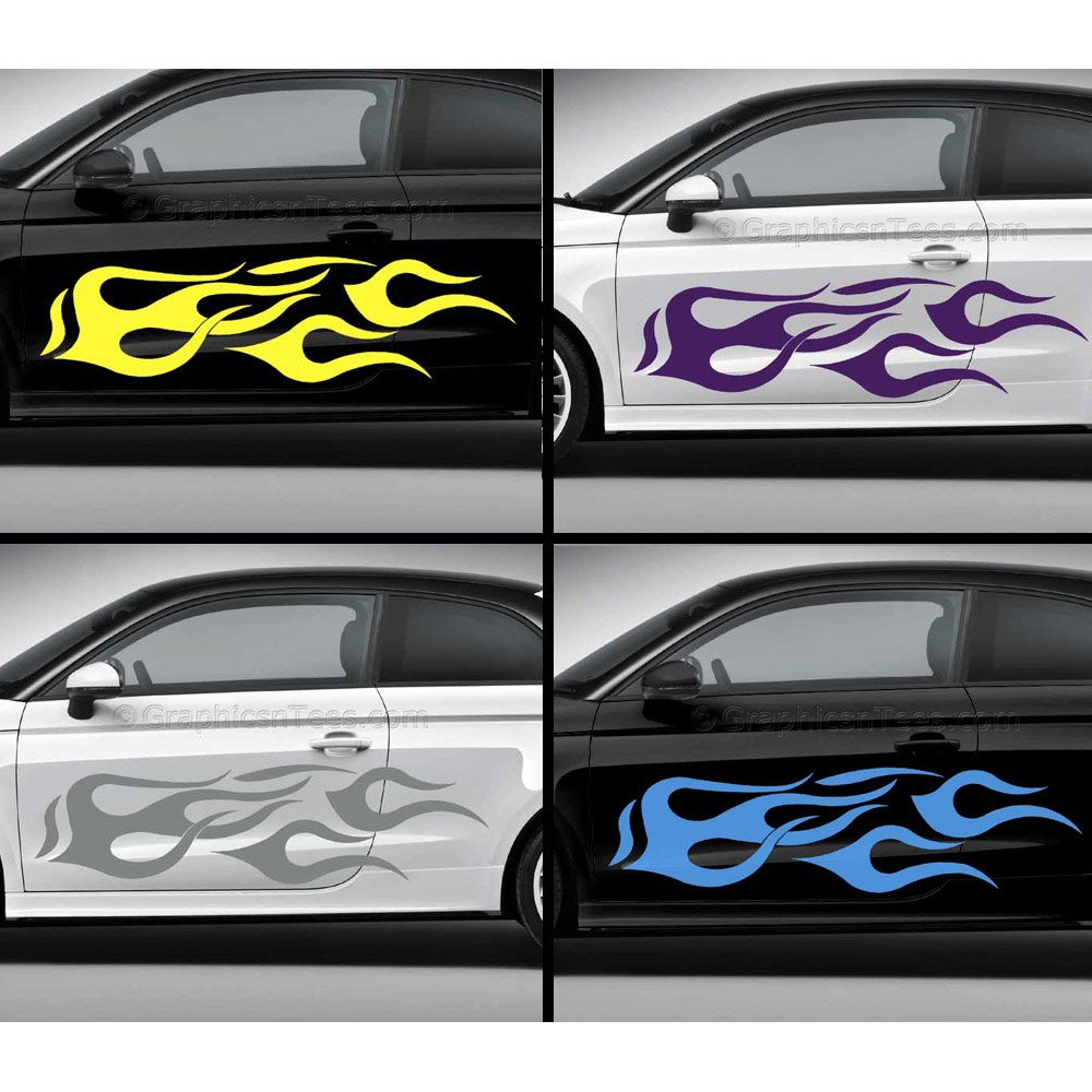 Flames Custom Car Stickers Vinyl Graphic Decals X 2 Large