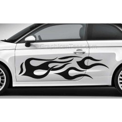 Flames Custom Car Stickers Vinyl Graphic Decals x 2 - Large