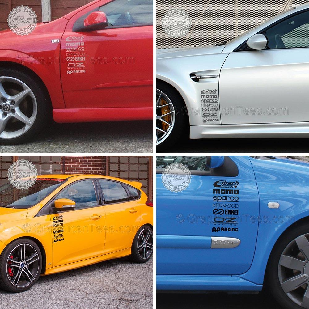 & Car Door Sponsors Stack Logo Vinyl Graphic Stickers \u0026 Decals