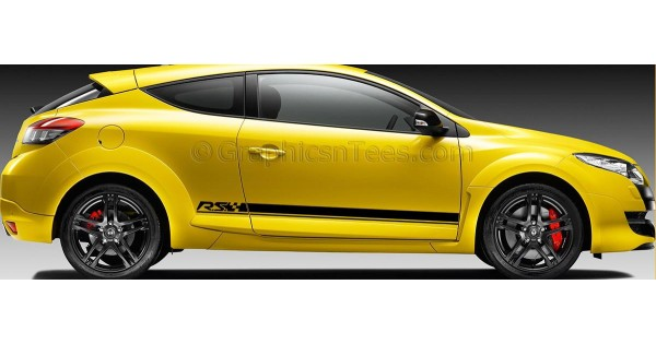 Renault Megane Rs Side Stripe Vinyl Graphic Decals Stickers