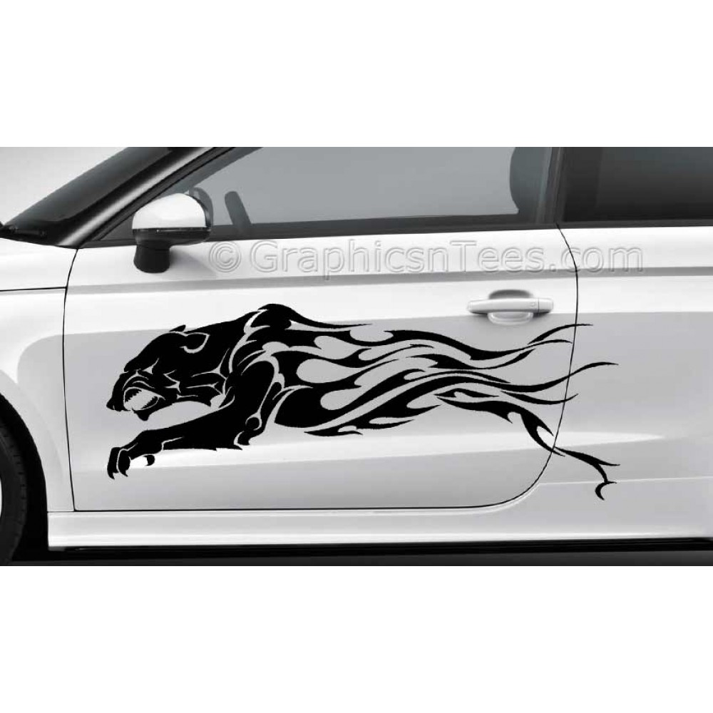 Tribal cat car stickers custom vinyl graphic decals x 2