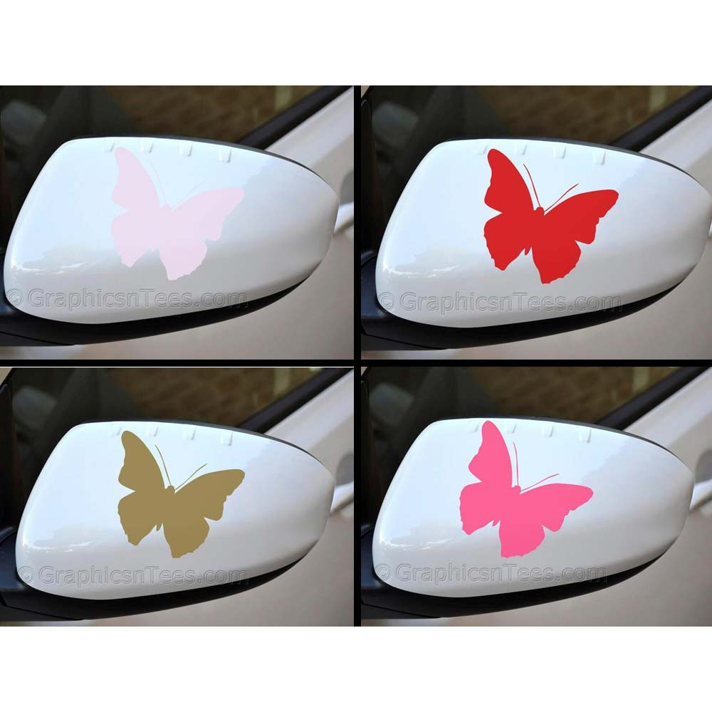 Butterfly wing mirror bumper car body stickers for Mirror stickers